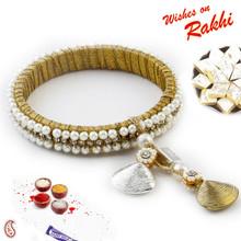 White Pearl & CZ studded Bracelet cum Lumba Rakhi - LM171104
