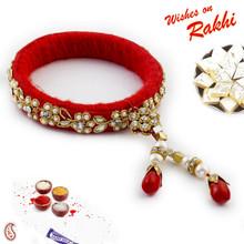 Floral Patterned AD studded Bracelet Lumba Rakhi - LM171105
