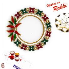 Green & Red Floral Shape Stone Bracelet Lumba Rakhi - LM171106