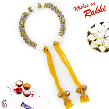 Pearl & AD studded Bracelet Lumba with Bells & Hanging Yellow Thread - LM171108