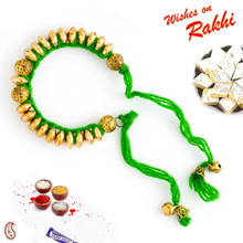 Golden Beads Tied in Green Thread Lumba Rakhi - LM171109
