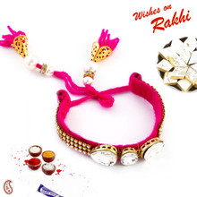 Lovely Fuschia Shade Stone Studded Lumba Rakhi - LM171110