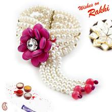 Pink & White Beads Studded Floral Motif Lumba Rakhi - LM171112