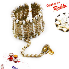 Golden & Silver Beads Bracelet cum Lumba Rakhi with attached Ring - LM171113