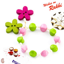 Green & Pink Beautiful Beads Studded Bracelet Rakhi for Girls - LM171116