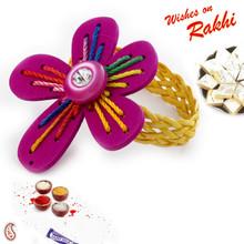 Embroidered Floral Shape  Bracelet Lumba Rakhi - LM171117