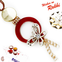 Butterfly Shape Red & Golden Lumba Rakhi - LM171118