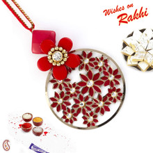 Red Floral Motifs & AD Studded Lumba Rakhi - LM171119