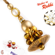 Golden Dangle Motif & Beads Lumba Rakhi - LM171120