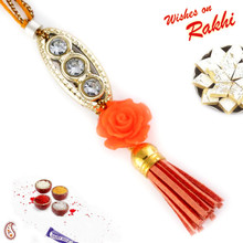 Orange Rose Motif AD Studded Lumba Rakhi - LM171122