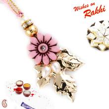 Pink Floral Style Beads Embellished Lumba Rakhi - LM171124