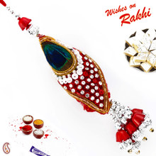 Red & Green Peacock Feather Style Lumba Rakhi - LM171140