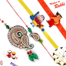 Beautiful Zardosi work Family Rakhi Set with Chhota Bheem & Shinchan Kids Rakhis - RF1701