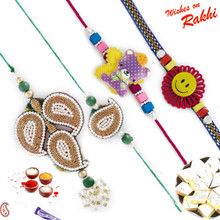 Paisley Design Zardosi Family Rakhi Set with Teddy & Smiley Kids Rakhis - RF1703