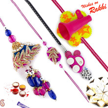 Charming Zardosi Family Rakhi Set with Car & Trumpet Kids Rakhis - RF1705