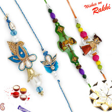 White & Blue Paisley Family Rakhi Set with Chhota Bheem & Ganesh Kids Rakhis - RF1707