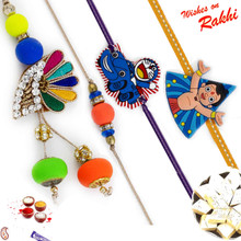 Colorful Beads Studded Family Rakhi Set with Chhota Bheem & Doremon Kids Rakhis - RF1708