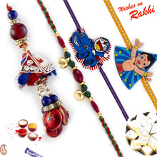 Enchanting Red Shade Family Rakhi Set with Chhota Bheem & Doremon Kids Rakhis - RF1709