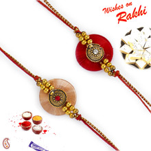 Set of 2 Resham Base Crystal Studded Rakhi - PST17201