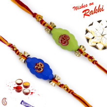 Set of 2 Blue & Green OM Embossed Rakhi - PST17202