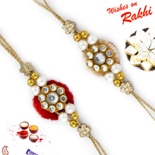 Set of 2 Red & Beige Base AD Studded Rakhi - PST17204