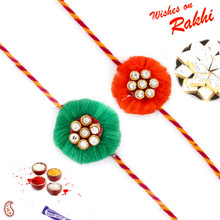 Set of 2 Green & Red Floral Shape AD Studded Rakhi - PST17205