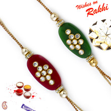 Set of 2 Pretty AD Studded Floral Rakhis - PST17206