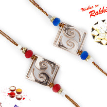 Set of 2 Red & Blue Beads Studded Square Rakhi - PST17207
