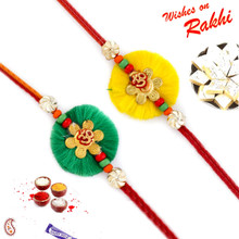 Set of 2 Yellow & Green Elegant OM Rakhi - PST17208