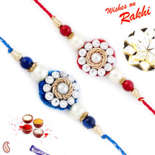 Set of 2 Red & Blue Beautifully Jewelled Rakhi - PST17209