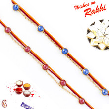 Set of 2 Pink & Blue Beads Studded Rakhi - PST17210