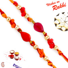 Set of 2 Orange & Red Beads Studded Rakhi - PST17211