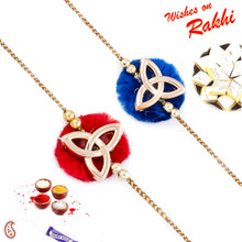Set of 2 Red & Blue Elegant Rakhi - PST17212