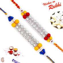 Set of 2 Multicolor Beads & AD Studded Rakhi - PST17214
