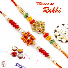 Set of 2 Pearl Emebllished Red & Green Beads Divine Rakhi - PST17215