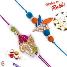 Set of 2 Pretty Multicolor Zardosi Rakhi - PST17216