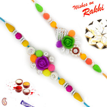 Set of 2 Multicolor Beads & Rose Rakhi - PST17217