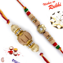 Set of 2 Beautiful & Elegant Sandalwood Rakhi - PST17218