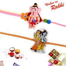 Set of 2 Ganesha, Krishna & Chhota Bheem Rakhi - PST17220