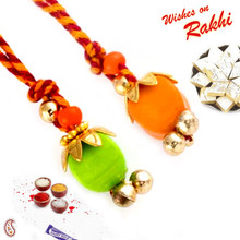 Set of 2 Orange & Green Lumba Rakhis - PST17226