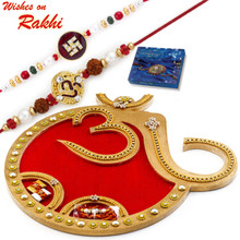 OM Designed Red & Golden Rakhi Pooja Thali with Set of 2 Rakhis - RTH1701SNG