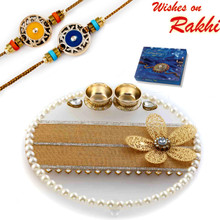 Pearl & AD Studded Floral Motif Decorated Rakhi Pooja Thali with Set of 2 Rakhis - RTH1702SNG