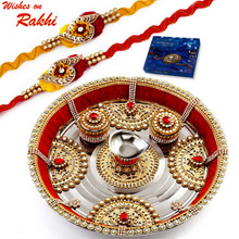 Kundan & AD Studded Beautiful Rakhi Pooja Thali with Set of 2 Rakhis - RTH1703SNG