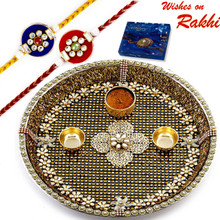 Beautiful Crystal Stone Studded Rakhi Pooja Thali with Set of 2 Rakhis - RTH1704SNG