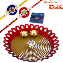 Lovely Kundan Studded Maroon Shade Rakhi Pooja Thali with Set of 2 Rakhis - RTH1706SNG