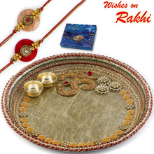 Lovely Gotta Work Pooja Thali with ON Motif with Set of 2 Rakhis - RTH1707SNG
