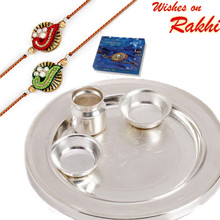 Elegant & Sober Silver Shade Rakhi Pooja Thali with Set of 2 Rakhis - RTH1709SNG