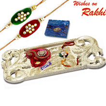 Beautiful Beige Shade Rakhi Pooja Thali with Set of 2 Rakhis - RTH1710SNG
