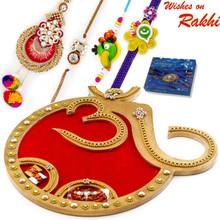 Beautiful Red Base OM Rakhi Pooja Thali with Family Rakhi Set - RTH1701