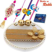Charming Crystal Clear Base Floral Motif Rakhi Pooja Thali with  Family Rakhi Set - RTH1702